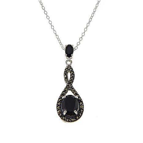 Marcasite and black onyx infinity pendant drop 18 necklace marcasite and black onyx infinity pendant drop 18 necklace aloadofball Image collections