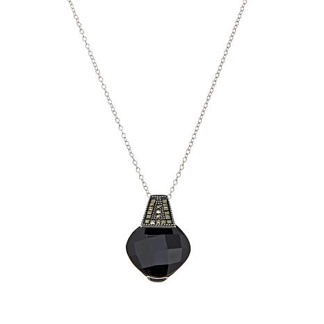 "Marcasite and Black Onyx Split-Bezel Pendant with 18"" Cable Chain"