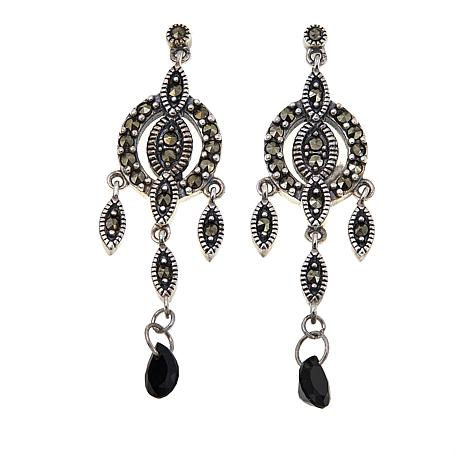 Marcasite and Black Onyx Sterling Silver Dangle Earrings