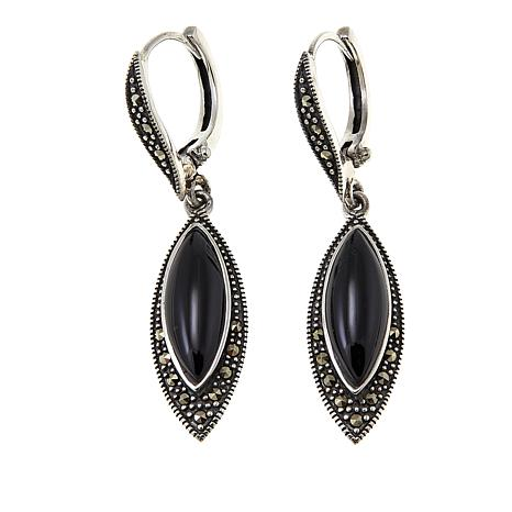 Marcasite And Black Onyx Sterling Silver Marquise Drop Earrings 8741129 Hsn