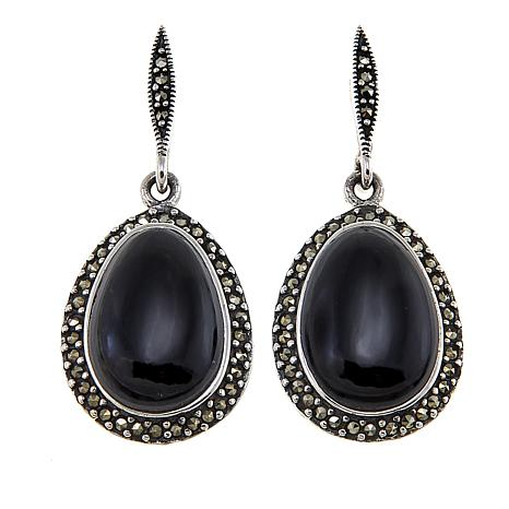 Marcasite and Black Onyx Sterling Silver Oval Drop Earrings