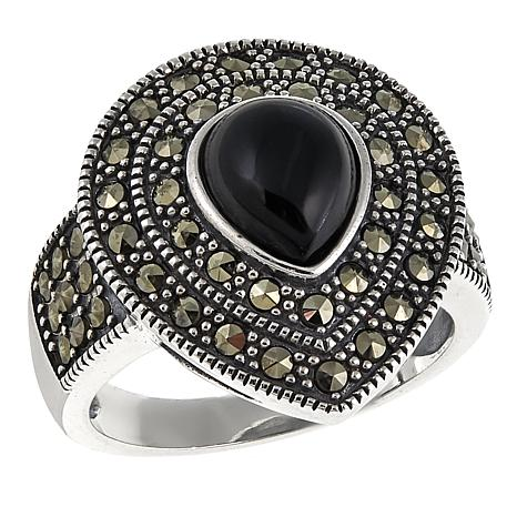 Marcasite and Black Onyx Sterling Silver Pear-Shaped Ring