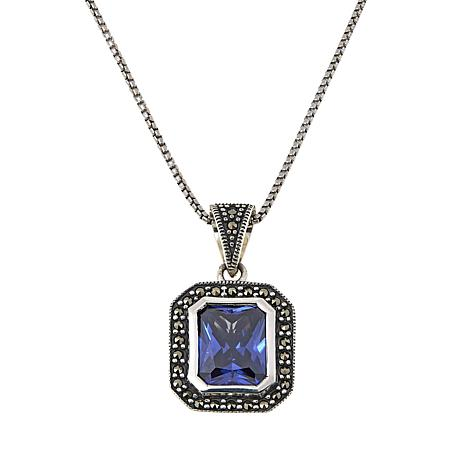 "Marcasite and Blue CZ Sterling Silver Cushion Pendant with 18"" Chain"