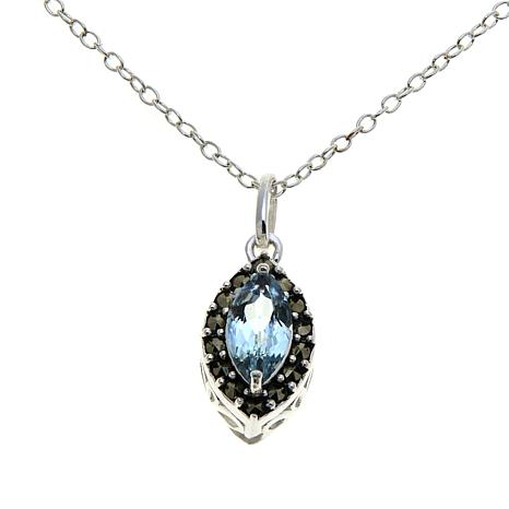"Marcasite & Blue Topaz Marquise Pendant with 13"" Chain"