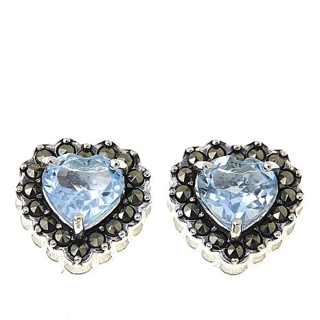 Marcasite And Blue Topaz Sterling Silver Heart Shaped Stud Earrings