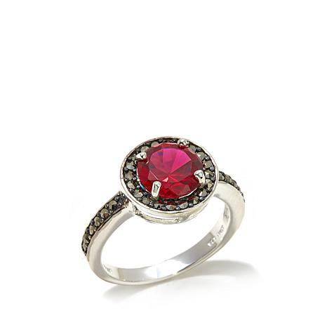 Marcasite and Created Ruby Round Sterling Silver Ring