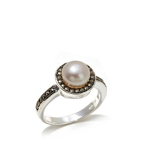 Marcasite and Cultured Pearl Sterling Silver Ring