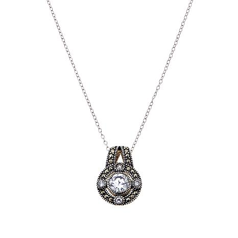 Marcasite & CZ Sterling Round Drop Pendant with Chain