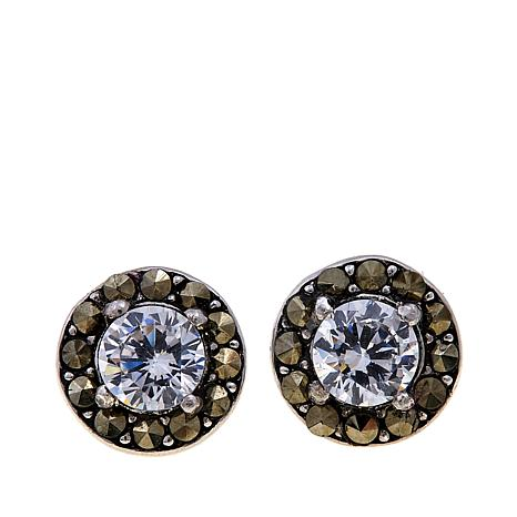 Marcasite and CZ Sterling Silver Round Stud Earrings