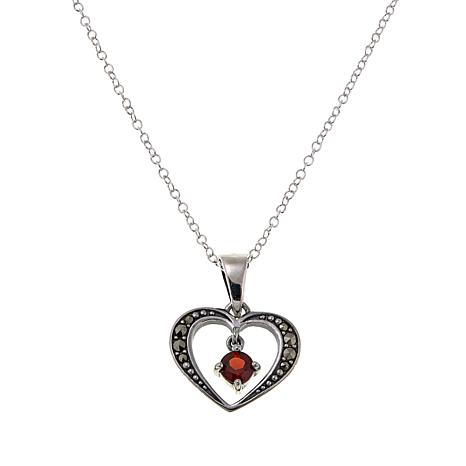 "Marcasite and Garnet Open-Heart Pendant with 18"" Chain"