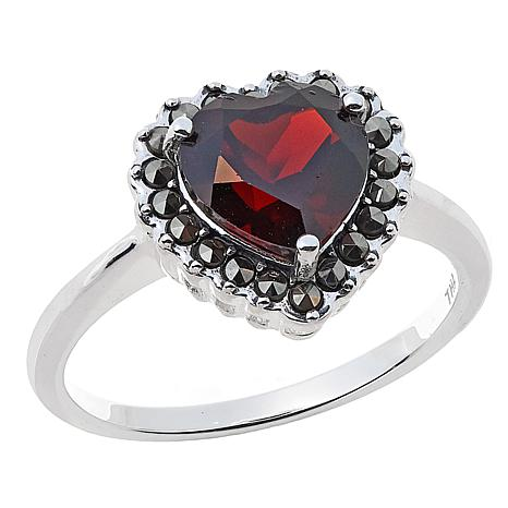 Marcasite and Garnet Sterling Silver Heart-Shaped Ring