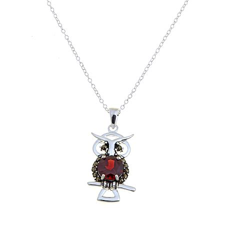 Black marcasite and garnet sterling silver owl pendant with 18 black marcasite and garnet sterling silver owl pendant with 18 cable link chain mozeypictures Image collections