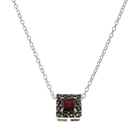 """Marcasite and Garnet Sterling Silver Square Pendant Drop 18"""" Necklace"""