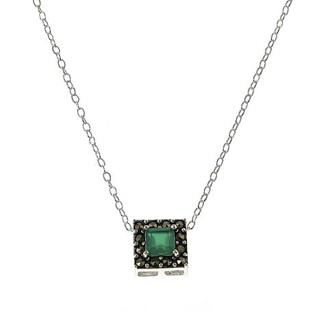"""Marcasite and Green Agate Square Pendant Drop 18"""" Necklace"""