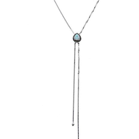 Marcasite & Lab-Created Opal Lariat Necklace