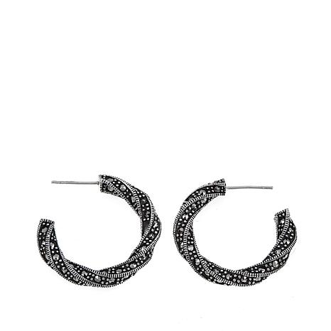 "Marcasite and Milgrain Sterling Silver 5/8"" Twisted Hoop Earrings"