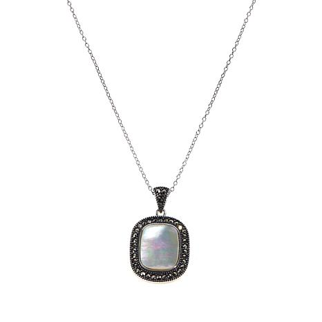Marcasite & Mother-of-Pearl Rectangular Pendant w/Chain