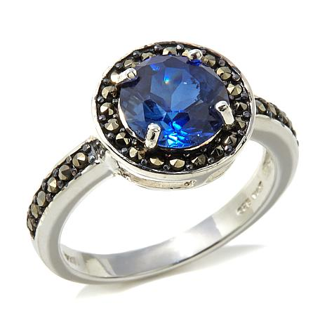 Marcasite and Synthetic Blue Sapphire Sterling Ring
