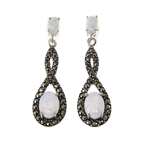 Marcasite and Synthetic Opal Doublet Infinity-Design Drop Earrings