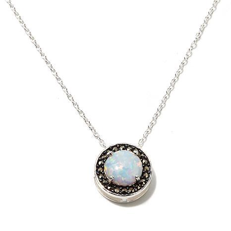 Marcasite and Synthetic Opal Sterling Pendant w/Chain