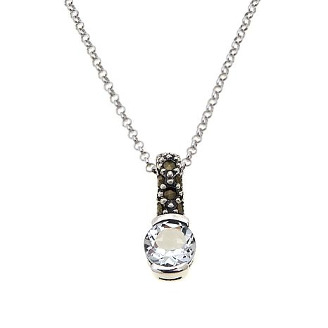 Marcasite and White Topaz Pendant with Chain - April