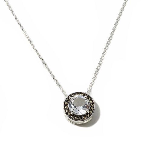 Marcasite and White Topaz Sterling Pendant w/Chain