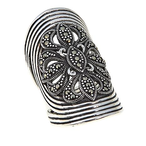 Marcasite Flower Sterling Silver Wide-Band Spiral Wrap Ring