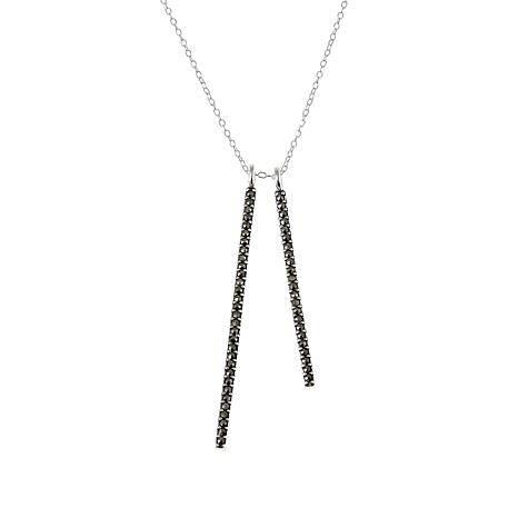 "Marcasite Sterling Silver Double Linear Drop 18"" Necklace"