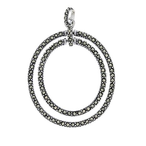 """Marcasite Sterling Silver Double Oval Pendant with 18"""" Chain"""