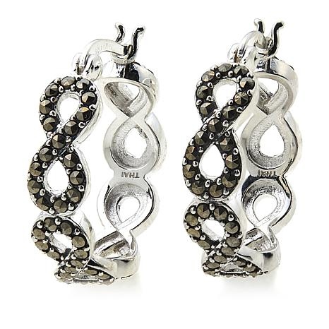 Marcasite Sterling Silver Infinity Hoop Earrings