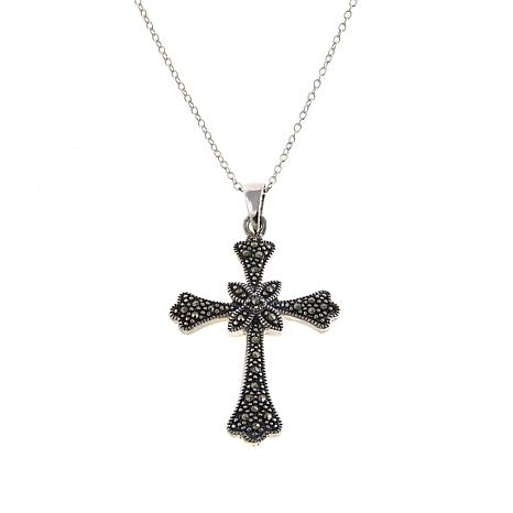 "Marcasite Sterling Silver Rope Cross Pendant with 18"" Chain"
