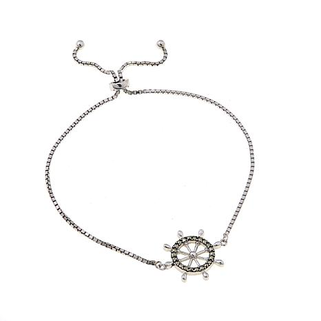 Marcasite Sterling Silver Ship's Wheel Bracelet