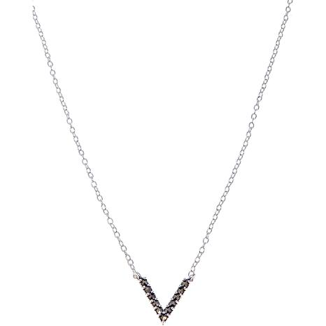 "Marcasite V-Shaped Drop 13"" Choker Necklace"