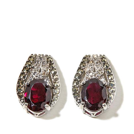 Marcasite, White Topaz and Garnet Sterling Earrings