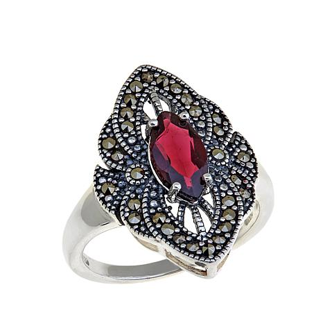 Marcasite/Garnet Marquise-Shaped Sterling Ring