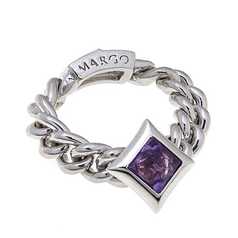 Margo Manhattan 0.54ctw Amethyst and White Topaz Ring