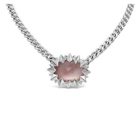 Margo Manhattan Sterling Silver Rose Quartz Spike Necklace