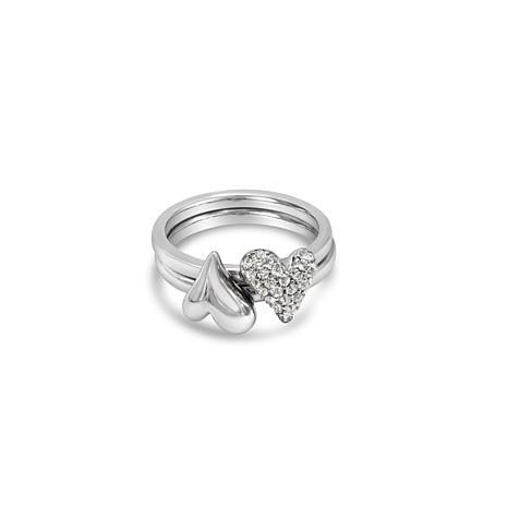 Margo Manhattan Sterling Silver White Topaz Double Heart Ring Set