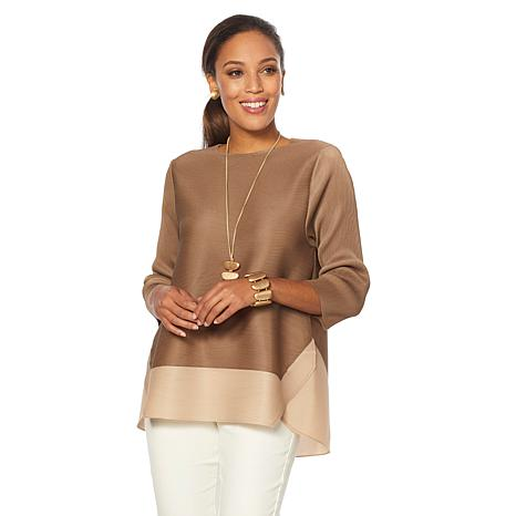 MarlaWynne 3/4 Sleeve Colorblock Micro Pleated Box Top