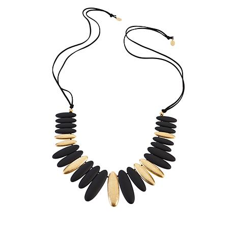 """MarlaWynne 47"""" Brushed Bullet Bead Necklace"""