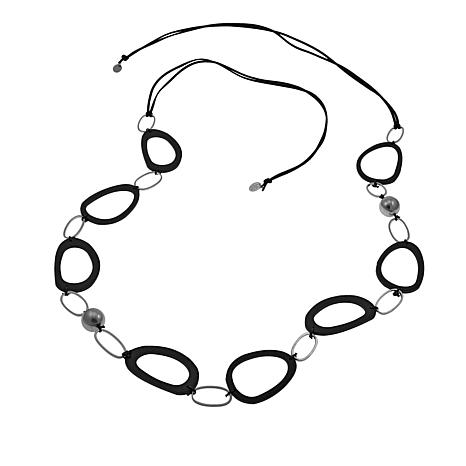 "MarlaWynne Black Open Link and Metal Station 79"" Necklace"
