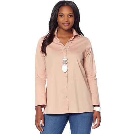 MarlaWynne Poplin Shirt with Side Slits