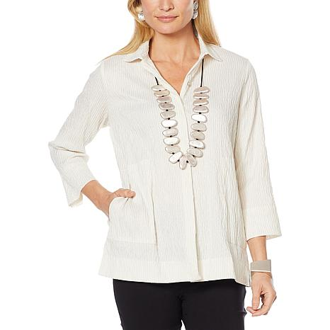 MarlaWynne Textured Jacquard Striped Shirt/Jacket
