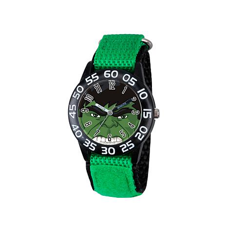 Marvel Hulk Kid's Time-Teacher Watch with Green and Black Strap