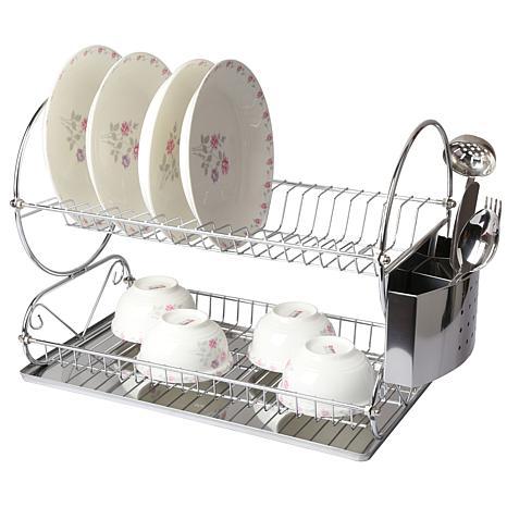 Mega Chef Chrome Plated Two Shelf Dish Rack 8524113 Hsn