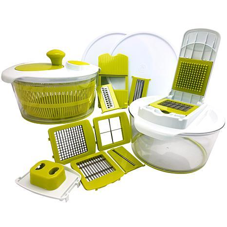 MegaChef 10 in 1 Multi-Use Salad Spinning Slicer Dicer and Chopper ...