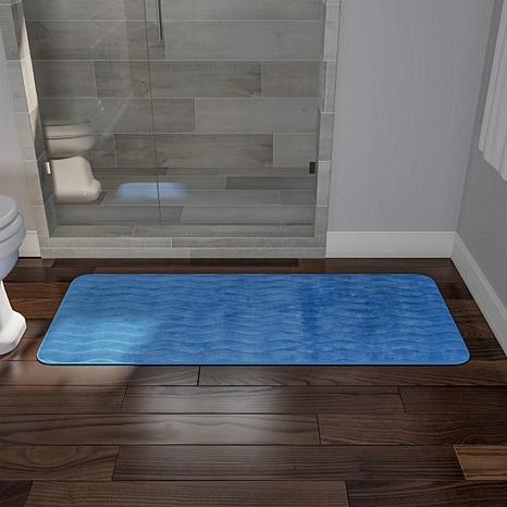 "Memory Foam 24"" x 60"" Extra Long Bath Rug Mat - Blue"