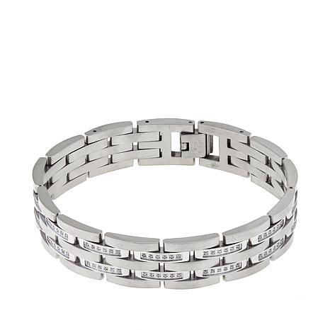 Men S 74ctw Diamond Stainless Steel Link Bracelet
