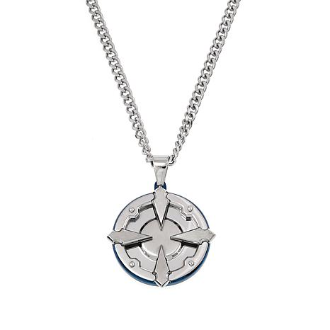 "Men's Blue-Accented Stainless Steel Medallion Pendant with 24"" Chain"