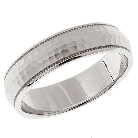 Men's Hammered & Milgrain Sterling Silver 6mm Band Ring